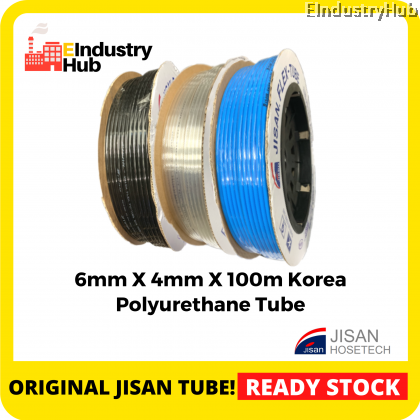 KOREA JISAN Polyurethane Pneumatic Hose PU Pneumatic Air Tube Polyurethane PU Tube Polyurethane PU Air Hose Tube Pneumatic Air Hose 6mm x 4mm x 100m (Roll)
